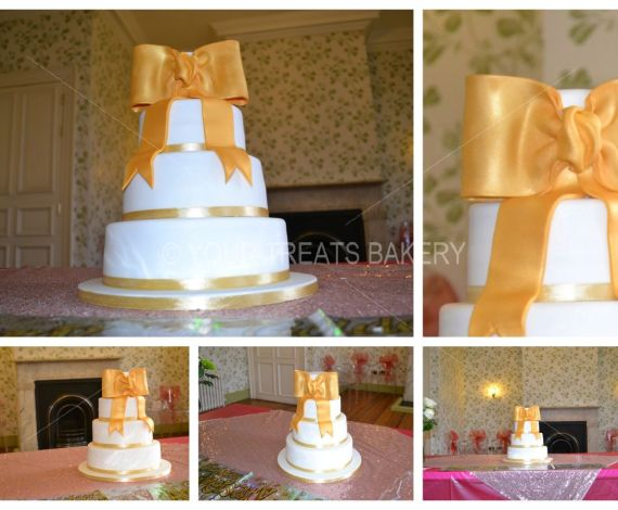 Golden Bow Wedding Cake