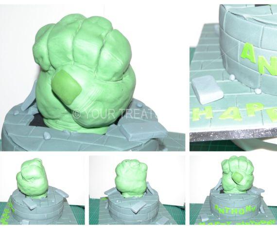 Hulk Smash Fist Cake