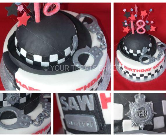 Police Officer Hat & Cuffs Cake