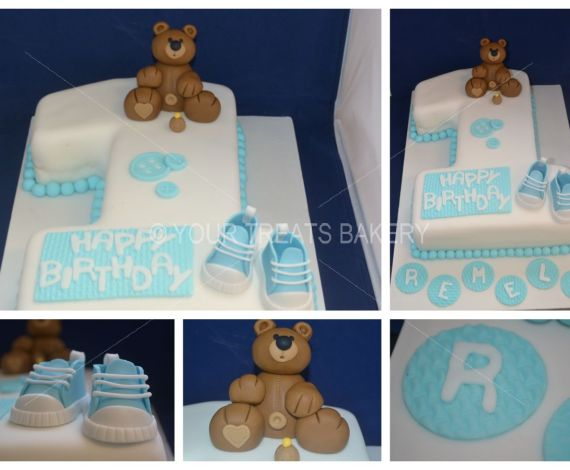 Teddy One & Boots Cake