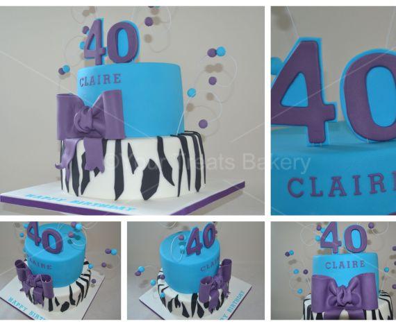Zebra 40 Birthday Cake