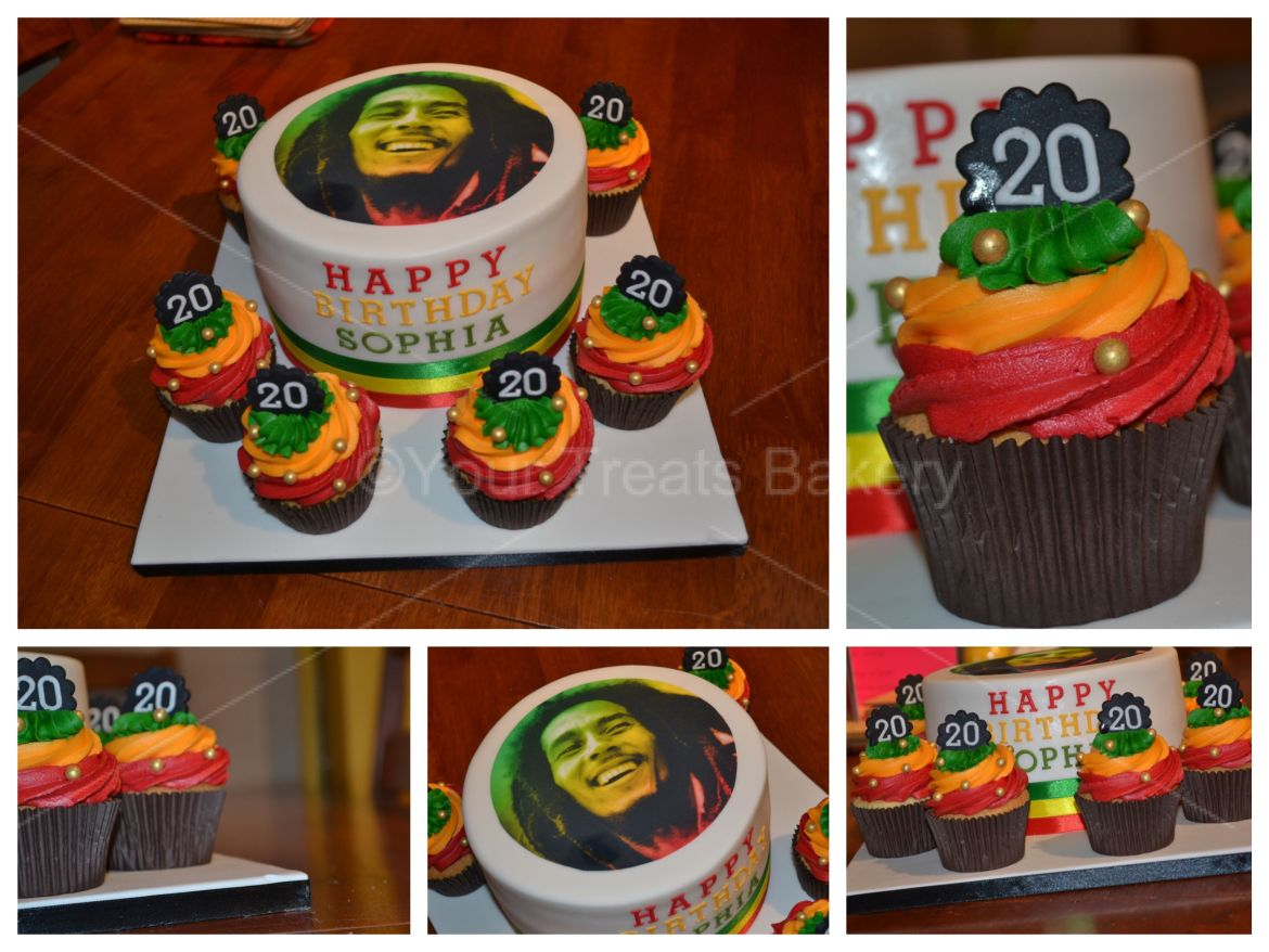 Bob Marley Cake and Cupcakes