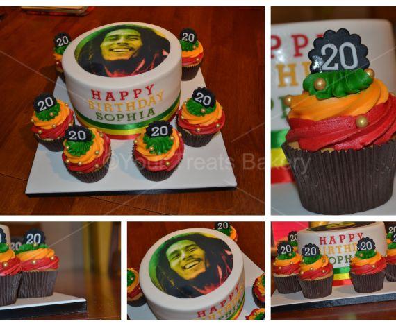 Bob Marley Cake and Cupcakes