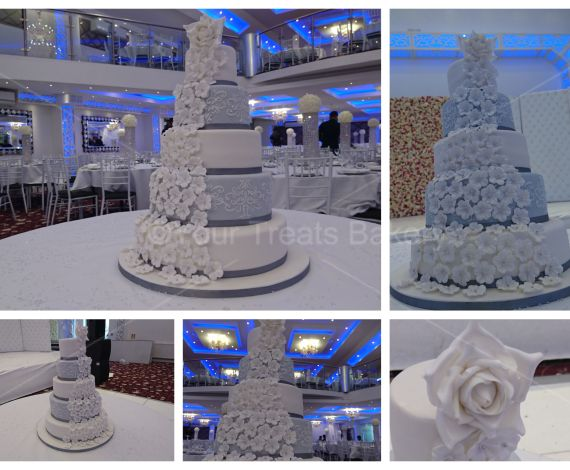 Floral Cascadence Wedding Cake