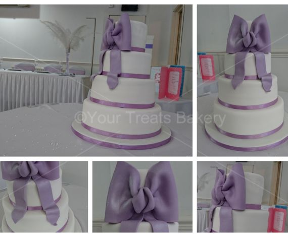 Lilac Bow Wedding Cake