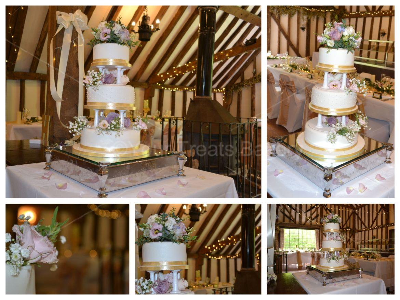 Pillars and Gold Wedding Cake