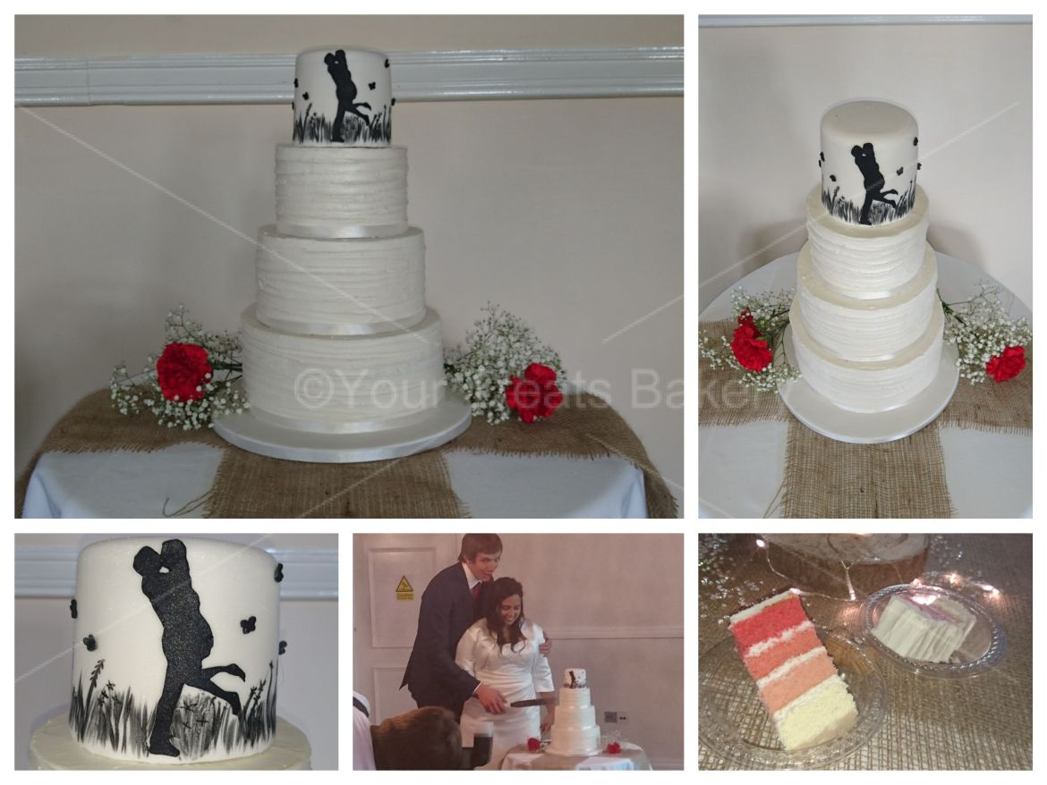 Silhouette Kissing Wedding Cake