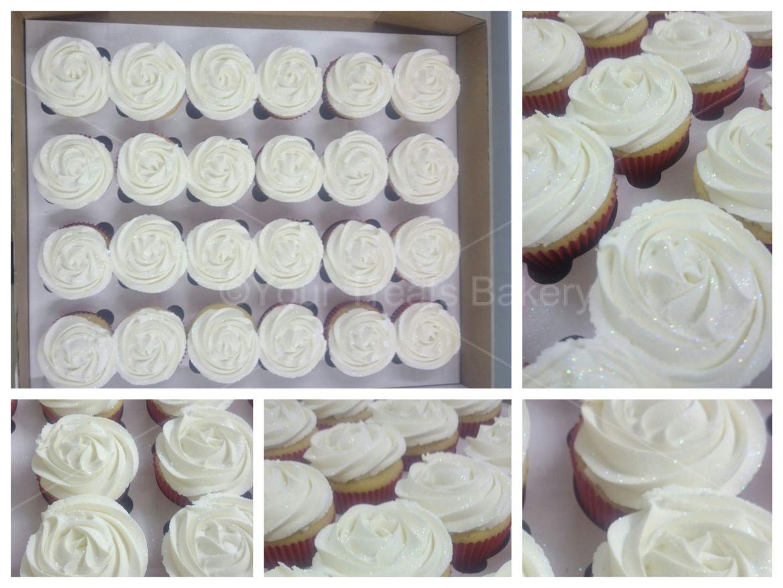 White Rose Swirls Cupcakes