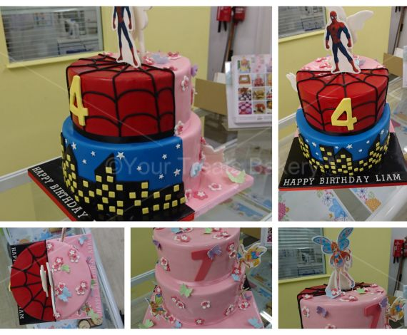 Winx Club and Spiderman Cake