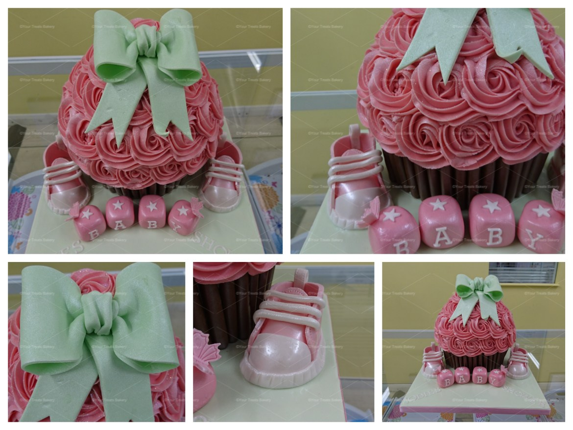 Giant Bow & Booties Cupcake