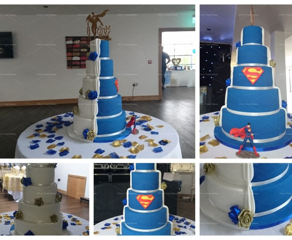 Superman Reveal Wedding Cake