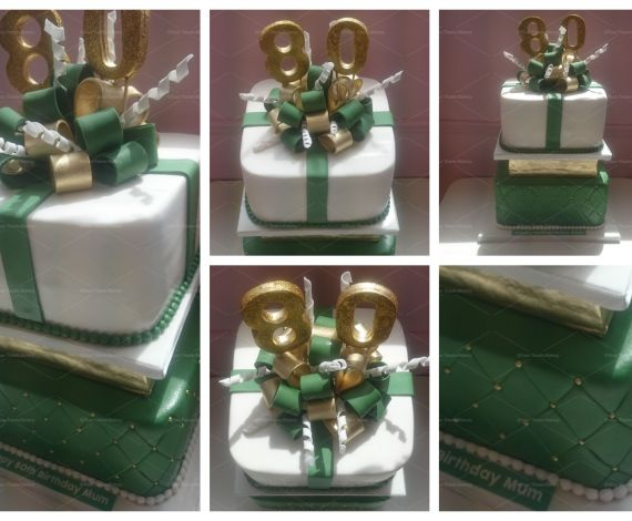 Gold & Green Bow Explosion Cake
