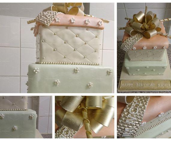Gold Pastel Bow Square Cake