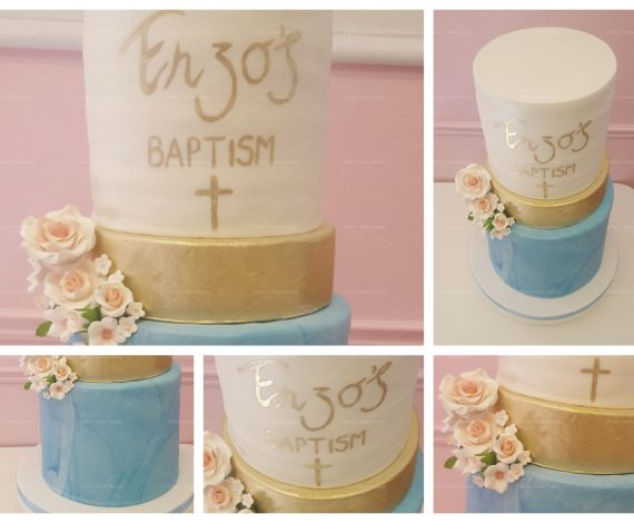 Gold Touch Christening Cake