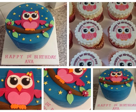 Owl and Stripes Cake