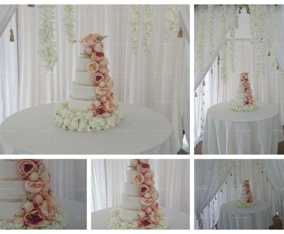 Peony Flowers Wedding Cake