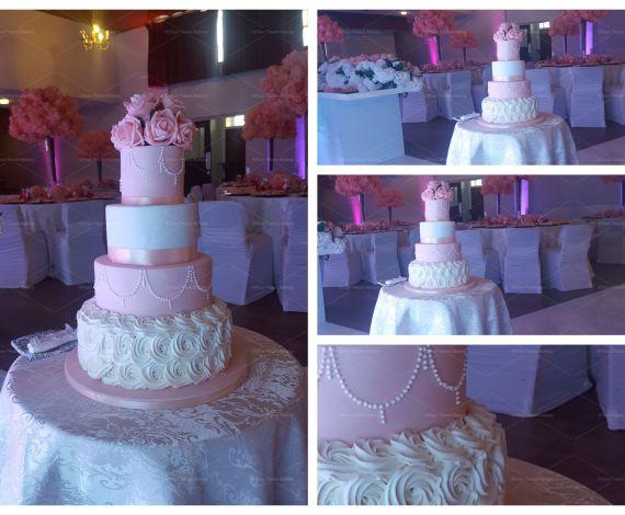 Pink Swirls Wedding Cake