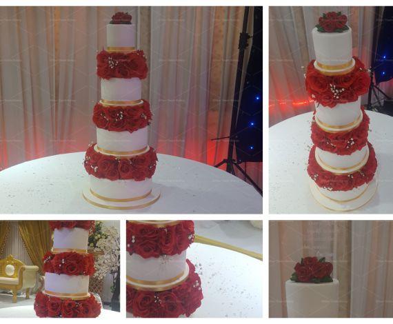 Rose Stacked Wedding Cake