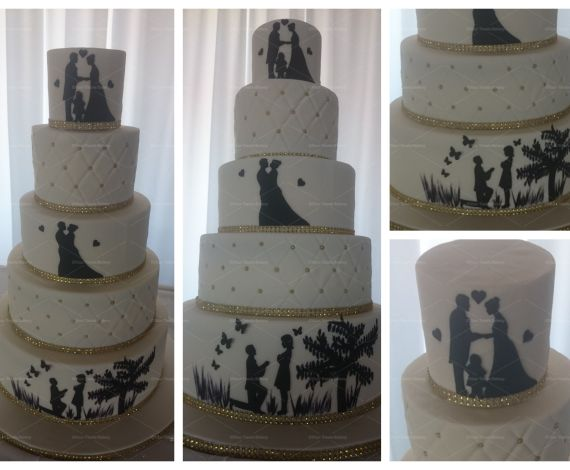 Silhouette Story Wedding Cake
