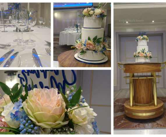 Blue St Angela Wedding Cake