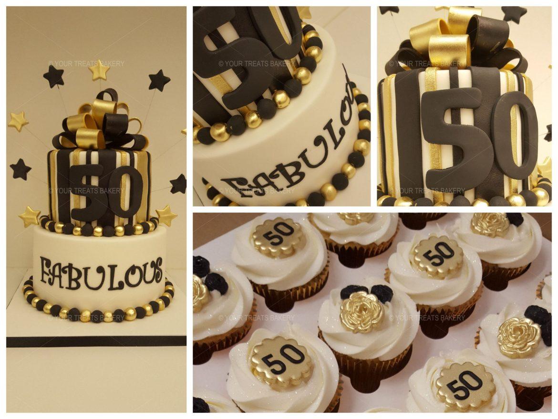 Gold an Black Stripe Cake