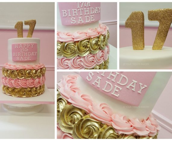 Gold and Pink Swirl Cake