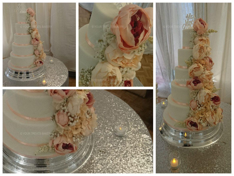 Peony Cascade Wedding Cake