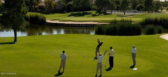 Golfers on Western Skies, Gilbert Golf Course with Water Hazard - Golf Properties, Golf Communities, Active Adult Communities - Bill Salvatore, Arizona Elite Properties 602-999-0952 - Arizona Real Estate
