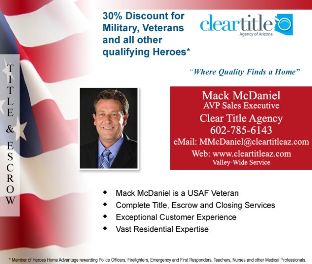 Advertising block with flag background, Mack McDaniel head shot and contact information - Mack McDaniel, Clear Title, Tempe Arizona - Bill Salvatore, Arizona Elite Properties 602-999-0952
