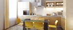 Retro kitchen, white walls and cabinets, glass table, yellow plasti-form chairs