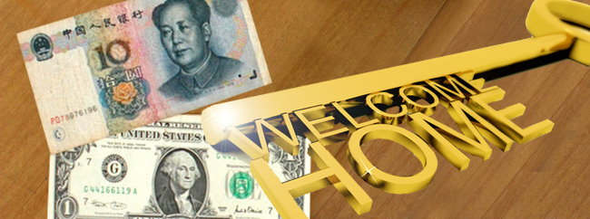Chinese and American money, Chinese real estate investors, welcome home key