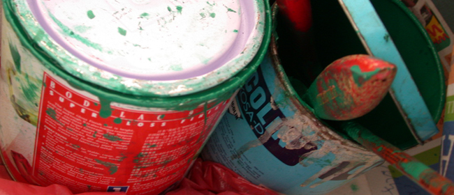 Cans of Paint and paint brushes, lead paint, HUD health and safety