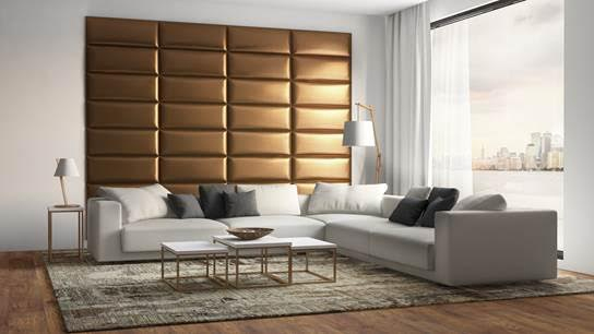 Gold metalic, padded wall panel in living area