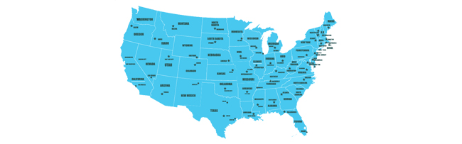 US Map with State and City Names - US Map created by FreePic.com