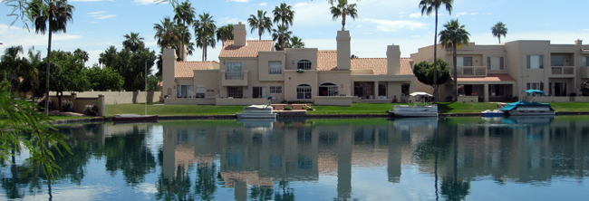 Lakefront condominiums and boats, Arizona Real Estate - Location, waterfront property, lake homes - Bill Salvatore, Arizona Elite Properties 602-999-0952
