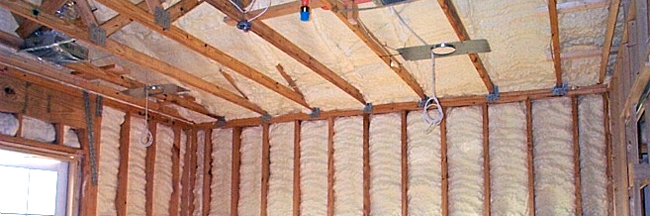 Framed wall and ceiling with spray foam insulation - Insulation, spray foam, energy efficient, green building - Bill Salvatore, Arizona Elite Properties 602-999-0952
