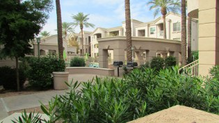 Patio view of pool complex, walk ways, and community gas grills - 5303 N 7th St, Phoenix AZ - Pool view from your patio - Bill Salvatore, Arizona Elite Properties 602-999-0952 - Arizona Real Estate