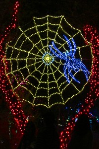 Giant yellow and red spider web with blue spider - Thank you Thursday - Alligator at Phoenix Zoo Lights 2016 - Phoenix Zoo and SRP - Bill Salvatore, Arizona Elite Properties 602-999-0952 - Arizona Real Estate
