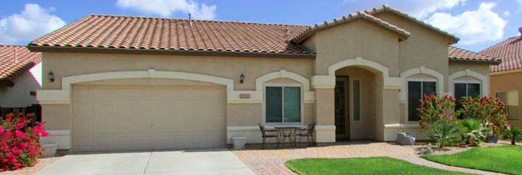 front of single story home from street, beige with white trim and tile roof - 1151 S Sandstone, Gilbert Arizona - 4 Bedroom, 3 Bath, single story home for sale - Bill Salvatore, Arizona Elite Properties 602-999-0952 - Arizona Real Estate