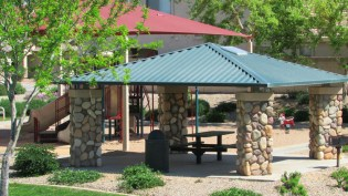 Covered picnic ramada with table and grill - 1795 W Gold Mine Way, Queen Creek, Arizona 85142 - Picnic ramadas near community tot lots - Bill Salvatore, Arizona Elite Properties 602-999-0952 - Arizona Real Estate