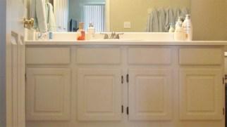 White bathroom cabinets and tile floor - Red ROX Condominium, 5401 E Van Buren St, Phoenix AZ - Unit #3002 Light and Bright Master Bath - Bill Salvatore, Arizona Elite Properties 602-999-0952 - Arizona Real Estate