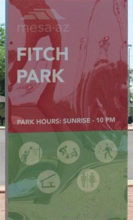 Red and Green Fitch Park Sign - 945 N Pasadena, Mesa AZ - Park Centre Patio Homes - Bill Salvatore, Arizona Elite Properties 602-999-0952 - Arizona Real Estate