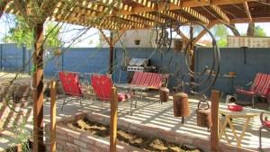 view of patio from garden area - Cement walkway through garden area to private patio - 161 N 88th Place, Mesa AZ - Bill Salvatore, Arizona Elite Properties - Mesa Arizona property for sale