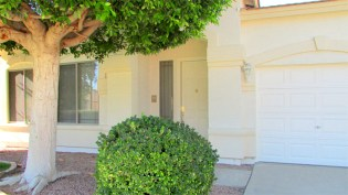 close up of front entrance and walkway sheltered by large tree - 4 Bedrooms, 3 Baths - 1162 S Sandstone St, Gilbert AZ - Bill Salvatore, Arizona Elite Properties 602-999-0952 - Arizona Real Estate