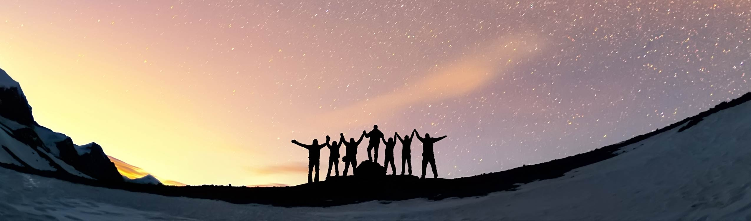 Facilitators of Communication and Sales training, teamwork and vision. A group of people are standing together holding hands against the Milky Way in the mountains.