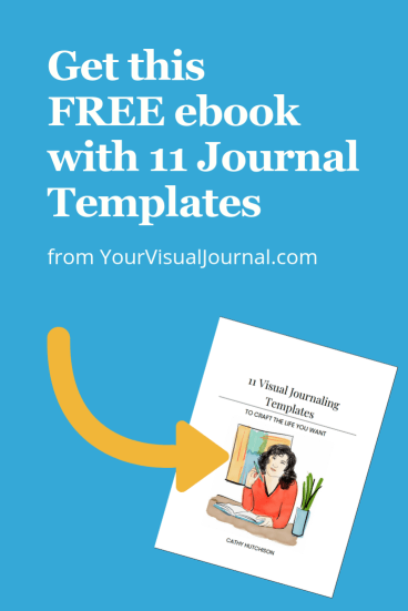 Image promoting download of free ebook with 11 Visual Journaling Templates