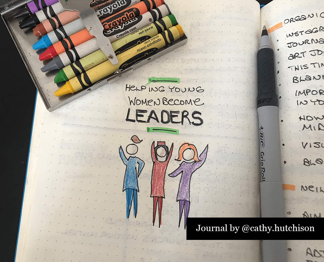 Page of a journal with sketchnotes and a box of crayons