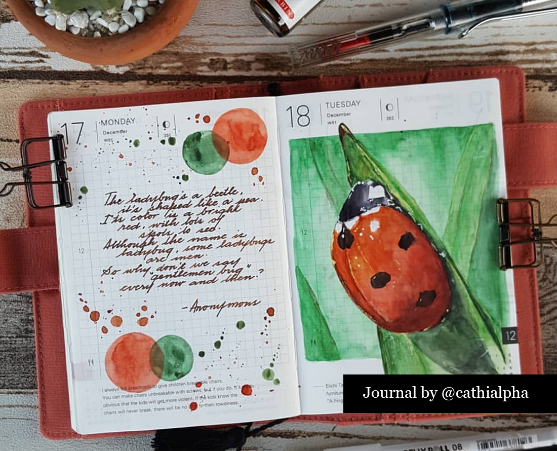 Hobonichi Techno planner with watercolor of a ladybug done by @CathiAlpha