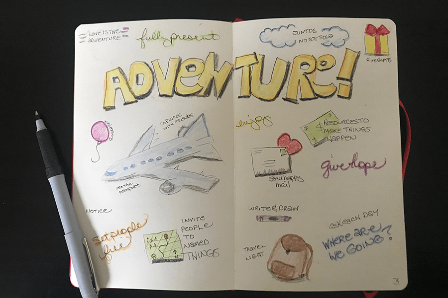 """Open journal with a visioning spread and the word """"Adventure"""" across the top. Illustrations include a plane and a backpack. Spread by Cathy Hutchison"""