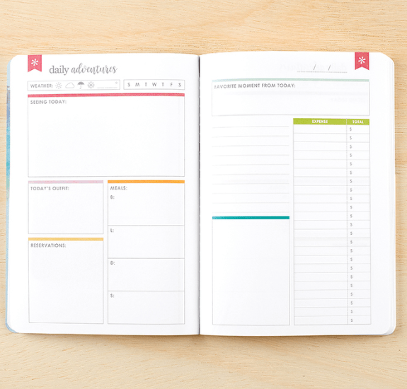 "The Erin Condren PetitePlanner Travel Journal reminds you from the moment you pick it up to ""always take the scenic route."" It includes space to plan your trip and record reservation information, and has a nice combination of blank pages and writing prompts."